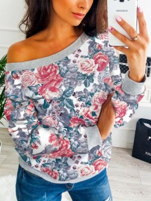 Grey Floral Print Asymmetric Shoulder Long Sleeve Fashion Blouse