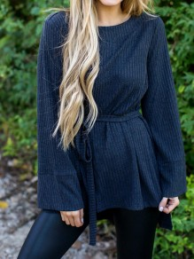Navy Blue Sashes Bow Long Sleeve Sweet Going out Blouse