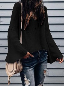 Black Ruffle Long Sleeve V-neck Sweet Going out Blouse