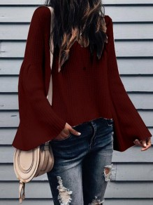 Wine Red Ruffle Long Sleeve V-neck Sweet Going out Blouse