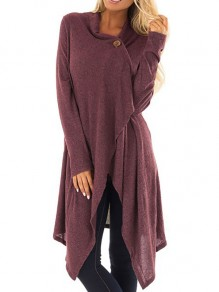Purple Cross Buttons Irregular Ruffle High-Low Long Sleeve Casual Fashion Going Out Blouse