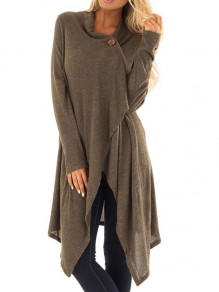 Coffee Cross Buttons Irregular Ruffle High-Low Long Sleeve Casual Fashion Going Out Blouse