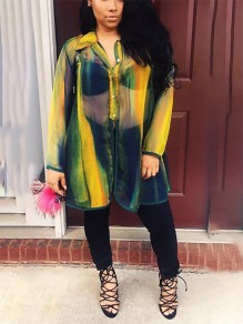 Yellow Single Breasted Print Sheer Long Sleeve Turndown Collar V-neck Casual Fashion Blouses