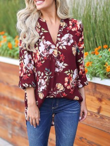 Red Floral Print 3/4 Sleeve Party Going out Blouse