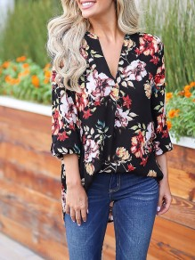 Black Floral Print 3/4 Sleeve Party Going out Blouse