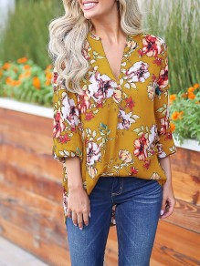 Yellow Floral Print 3/4 Sleeve Party Going out Blouse
