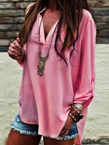 Pink Irregular V-neck Three Quarter Length Sleeve Fashion Blouse