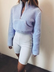 Light Blue Pockets Zipper Fluffy Long Sleeve Band Collar Casual Fashion Thick Blouse