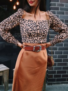 Brown Leopard Print Pleated Single Breasted Backless Long Sleeve Fashion Vintage Cardigan Blouse