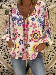 White Floral Print V-neck Long Sleeve Casual Sweet Blouse