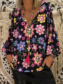 Black Floral Print V-neck Long Sleeve Casual Sweet Blouse