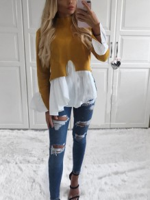 Yellow Patchwork Ruffle Irregular Sweet Going out Party Blouse