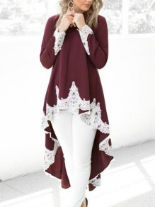 Wine Red Patchwork Lace High-low Round Neck Long Sleeve Blouse