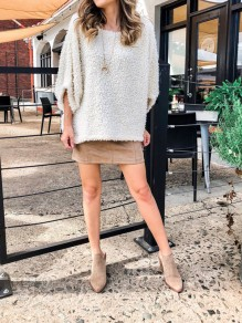 Beige Fuzzy Faux Three Quarter Length Sleeve Round Neck Casual Blouse