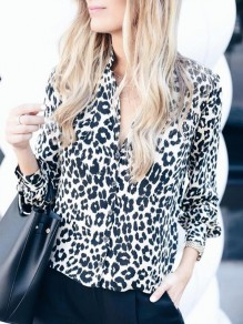White Leopard Print Single Breasted V-neck Long Sleeve Fashion Blouse