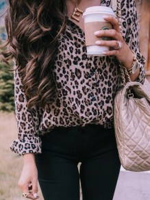 Khaki Leopard Print Single Breasted V-neck Long Sleeve Fashion Blouse