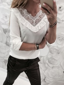 White Patchwork Lace Cut Out Ruffle V-neck Long Sleeve Blouse