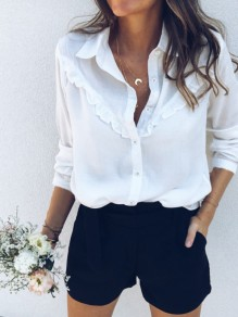 White Ruffle Buttons Square Neck Long Sleeve Fashion Blouse