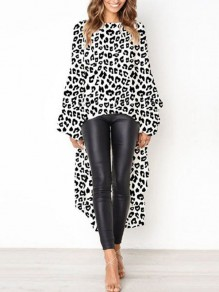 White Leopard Print High-low Round Neck Lantern Sleeve Blouse