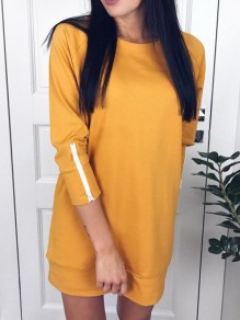 Yellow Plain Zipper Round Neck Going out Casual Blouse