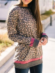 Brown Leopard Print Round Neck Long Sleeve Fashion Blouse