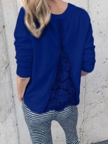 Blue Patchwork Lace Zipper Round Neck Long Sleeve Casual Blouse