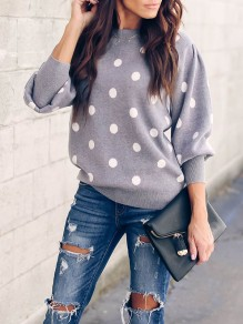 Grey Polka Dot Long Sleeve Going out Casual Blouse