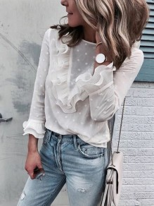 White Patchwork Lace Ruffle Round Neck Long Sleeve Casual Blouse