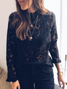 Black Patchwork Lace Ruffle High Neck Long Sleeve Blouse