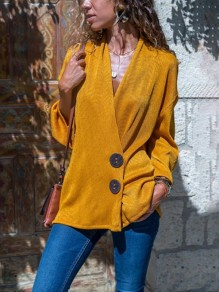 Yellow Single Breasted V-neck Long Sleeve Casual Blouse