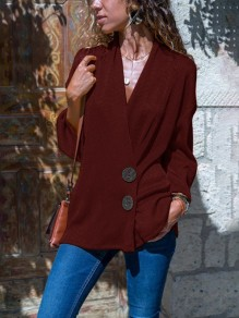 Wine Red Single Breasted V-neck Long Sleeve Casual Blouse
