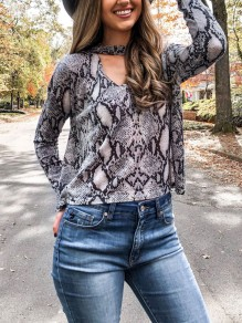 Brown Snakeskin Pattern Floral Print Cut Out V-neck Long Sleeve Fashion Blouse