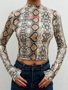 Khaki Snakeskin Pattern Floral Print Crop Band Collar Long Sleeve Fashion Blouse