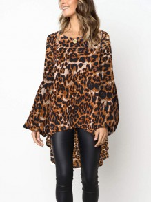Khaki Leopard Irregular Swallowtail Round Neck Long Sleeve Fashion Blouse