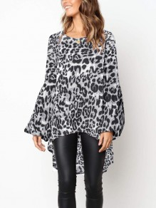 Grey Leopard Irregular Swallowtail Round Neck Long Sleeve Fashion Blouse