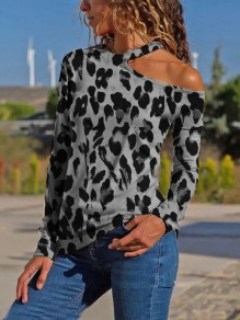 Grey Leopard Print Irregular Asymmetric Shoulder V-neck Long Sleeve Fashion Blouse