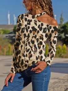Khaki Leopard Print Irregular Asymmetric Shoulder V-neck Long Sleeve Fashion Blouse