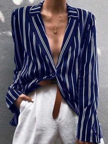 Blue Striped Buttons Single Breasted Cut Out Tailored Collar Long Sleeve Fashion Blouse