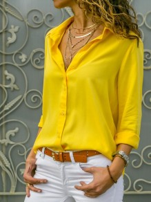 Yellow Single Breasted Buttons Turndown Collar Long Sleeve Casual Blouse