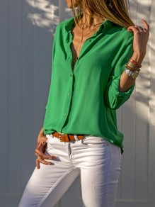 Green Single Breasted Buttons Turndown Collar Long Sleeve Casual Blouse