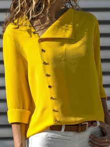 Yellow Single Breasted Buttons Irregular V-neck Long Sleeve Casual Blouse