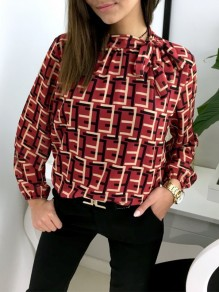 Red Geometric Belt Print Long Sleeve Fashion Blouse