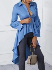 Blue Irregular Draped Swallowtail Buttons Single Breasted Turndown Collar Long Sleeve Fashion Blouse