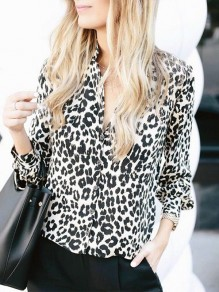 Grey Leopard Buttons Turndown Collar Fashion Blouse