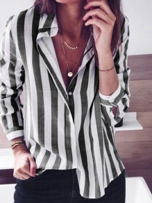 Black Striped Buttons Single Breasted Turndown Collar Long Sleeve Fashion Blouse