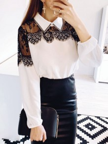 White Patchwork Lace Turndown Collar Long Sleeve Elegant Blouse