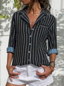Black Striped Print Single Breasted V-neck Long Sleeve Blouse