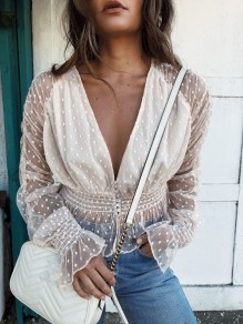 White Patchwork Buttons Lace V-neck Long Sleeve Fashion Blouse