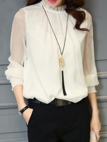 Beige Ruffle Pleated Band Collar Long Sleeve Chiffon Blouse