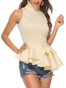 Beige Cascading Ruffle Peplum High Neck Elegant Party Blouse